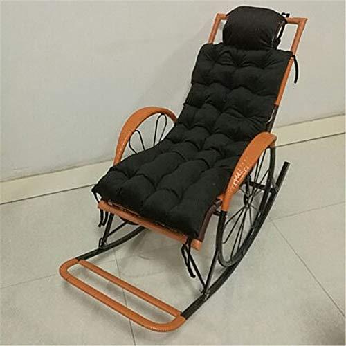 TYXTYX Coussin De Chaise Coussin pour Longue Chaise Fauteuils Bascule Transat de Jardin Terrasse Relax Épais Pad Outdoor Assise(Taille: 125X46CM, sans Chaise),Black