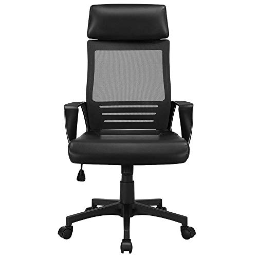 Yaheetech Ergonomic Office Chair Adjustable Swivel Desk Chair with Mesh Lumbar Support and PU Leather Paded Seat Black