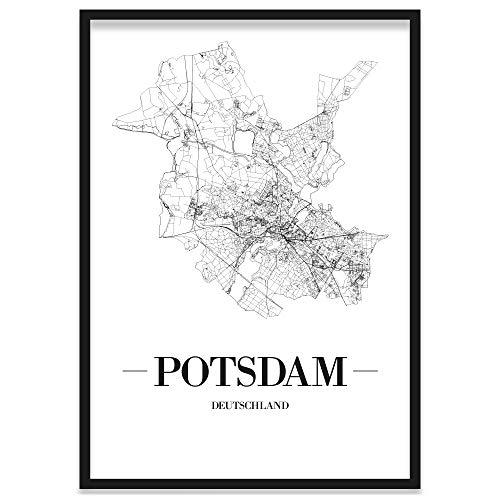 JUNIWORDS Stadtposter, Potsdam, Wähle eine Größe, 21 x 30 cm, Poster mit Rahmen, Schrift A, Weiß