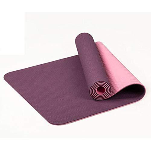 Cobeky 6Mm Tpe Estera de yoga antideslizante de dos colores 183 x 61 cm Gimnasio hogar Fitness insípido Mat púrpura