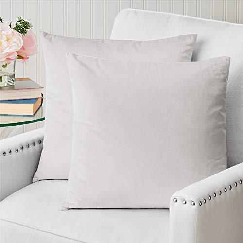 The Connecticut Home Company - Juego de 2 fundas de almohada de terciopelo de lujo, suaves y decorativas, para cama, sala, recámara, sofá, Blanco Perlado, Set of 2 (18' x 18'), 1