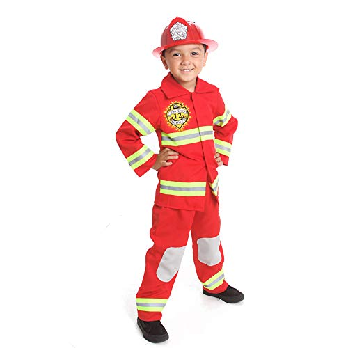 Fire Fighter Costume Light up Patch on Chest Kids W/Hat Fire Man T S M 3-4 4-6 6-8 (S (4-5))