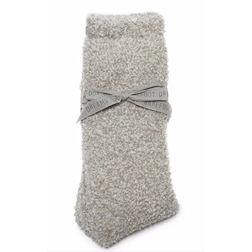 Barefoot Dreams Cozychic Socks Oyster/White One Size