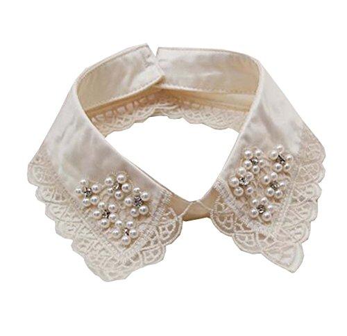 Black Temptation Frauen gefälschte Half Shirt Kragen mit Diamond Bead abnehmbare Bluse Kragen Krawatte - A1