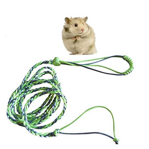 Ogquaton Arnés de Nylon Ajustable Conjunto de Chaleco y Correa para Mascotas Hámster Gerbil Ratón Ratón Pequeño Animal Caminando Juguete Verde