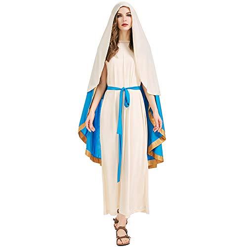 HQAZ Disfraz de Cosplay Disfraz de Abrigo de Halloween, Disfraz israel Antiguo, La Virgen Mara, Disfraz de Halloween para Adultos M