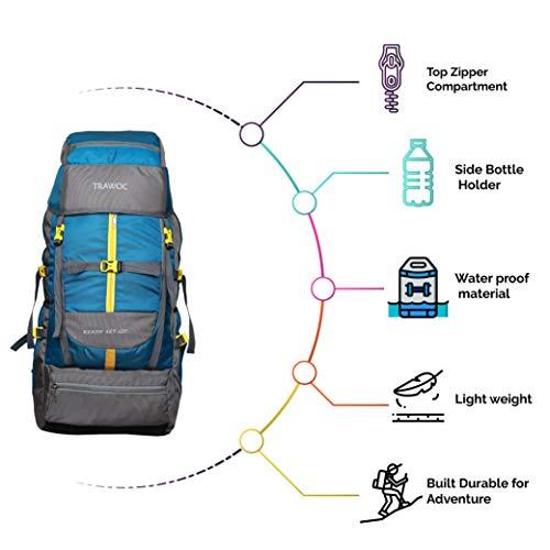 TRAWOC 60 L Travel Backpack / Hiking Trekking Bag Camping Rucksack SHK012 1 Year Warranty (Sky Blue)