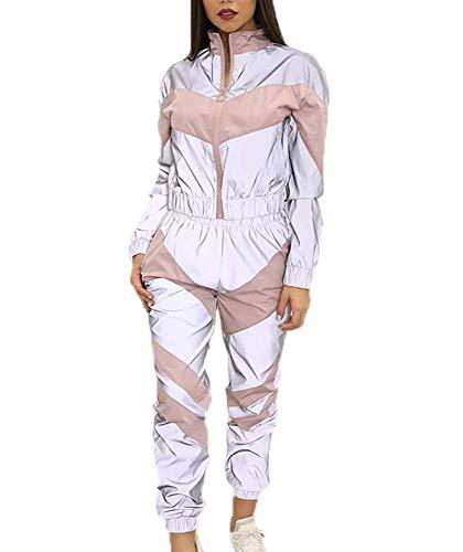 Jogger Reflectante de la Mujer Que empalma Tops + Pantalones Traje, Traje de Ropa Deportiva Reflectante Rock Moda Rock