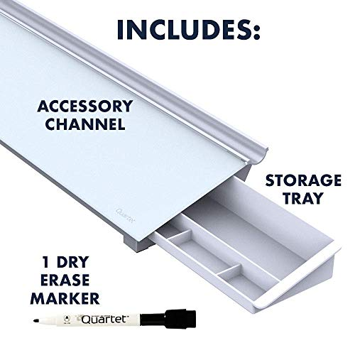 "Quartet Glass Dry Erase Desktop Computer Pad, 18"" x 6"", Frameless Computer Desk Organizer, Small Dry Erase Board for Home Office Desk Accessories, Includes 1 Dry Erase Marker, White (GDP186) Photo #4"