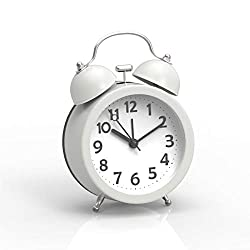 PiLife 3 Mini Non-ticking Vintage Classic Analog Alarm Clock with Backlight , Battery Operated Travel Clock, Loud Twin Bell Alarm Clock for Kids(White)