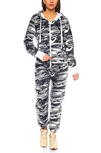 Crazy Age Herren Jumpsuit Overall Strampeler Latzhose Ganzkörperanzug Sweat Camouflage Design. Warm, Weich, Sportlich (XS, Camouflage Damen 1)
