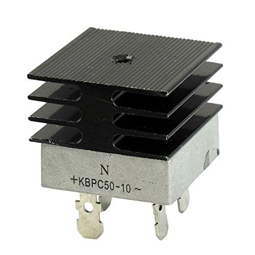 KBPC50-10 50A 1 KV monofásico puente rectificador de media onda del blanco w del disipador de calor