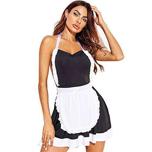 FEOYA Costume Sexy Femme Tenue de Soubrette Femme Vêtements de Nuit Femme Lingerie Sexy Femme Coquine Déguisement de Soubrette Femme M