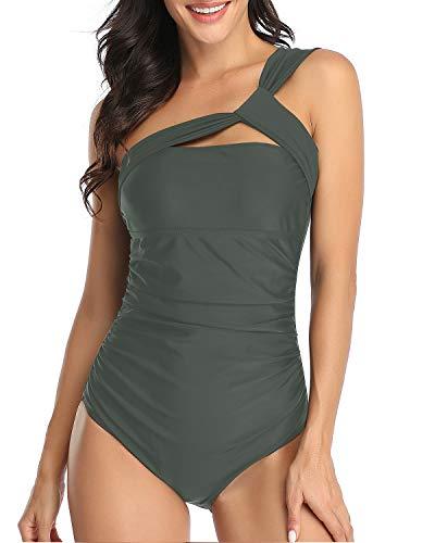 Holipick Women One Piece Swimsuit One Shoulder Ruched Slimming Swimwear Grey XL