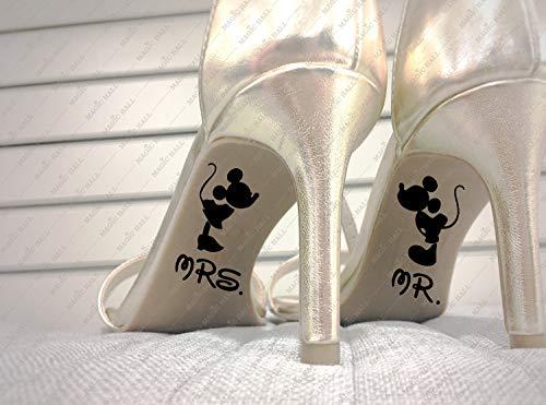 H421ld MR & MRS Wedding Shoes Disney Calcomanías, impermeables, 2 calcomanías en el juego, regalo de boda, color personalizado, accesorio único de boda, regalo para novia