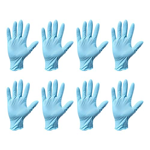 Exceart Nitril Untersuchungshandschuhe Einweg Medizinische Untersuchung Puderfreie Vinylhandschuhe Schnitt Widerstandsfähig Level 5 Hände Schutzhülle Handschuhe -Größe L (Blau)