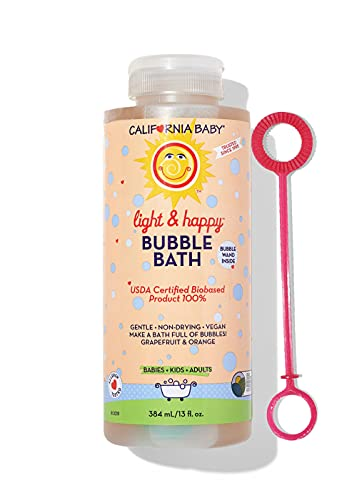 California Baby Light and Happy Bubble Bath   No Tear   Pure Essential Oils for Bathing   Hot Tubs, or Spa Use   Moisturizing Organic Aloe Vera and Calendula Extract  (13 fl. ounces)
