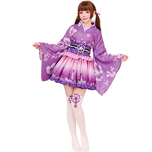 Vestido de Albornoz Kimono de Estilo japonés Anime Cosplay Yukata Series Verano de Japón Chicas Lindas Cosplay de Anime Disfraces (Púrpura)