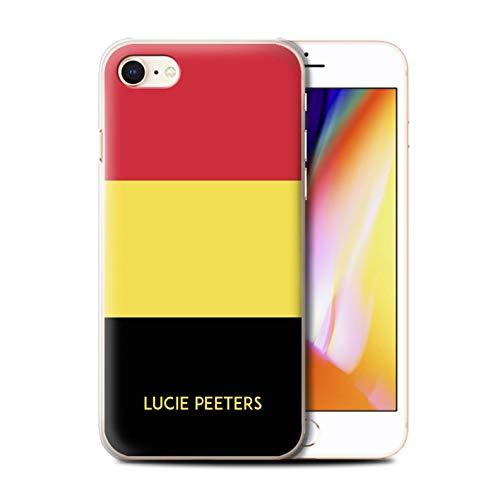 Personnalisé Drapeau National Nation Personnalisé 2 Coque pour Apple iPhone Se 2020 / Belgique/Belge Design/Initiales/Nom/Texte Etui/Housse/Case