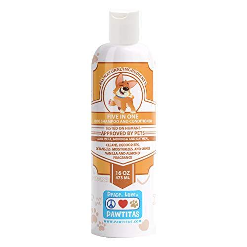 PAWTITAS Hundeshampoo und Pflegespülung mit zertifizierten biologischen Inhaltsstoffen für saubere, entwirrte, feuchtigkeitsspendende, glänzende, desodorierende Welpen Vanille - 16 OZ Shampoo 5 in 1