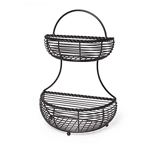 Gourmet Basics by Mikasa Rope 2-Tier Flatback Metal Storage Basket
