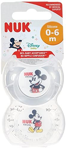 NUK Disney Baby Dummies | 0 – 6 meses | Chupetes de silicona | Sin BPA | Mickey & Minnie Mouse | 2 unidades (estilo variado/modelo)