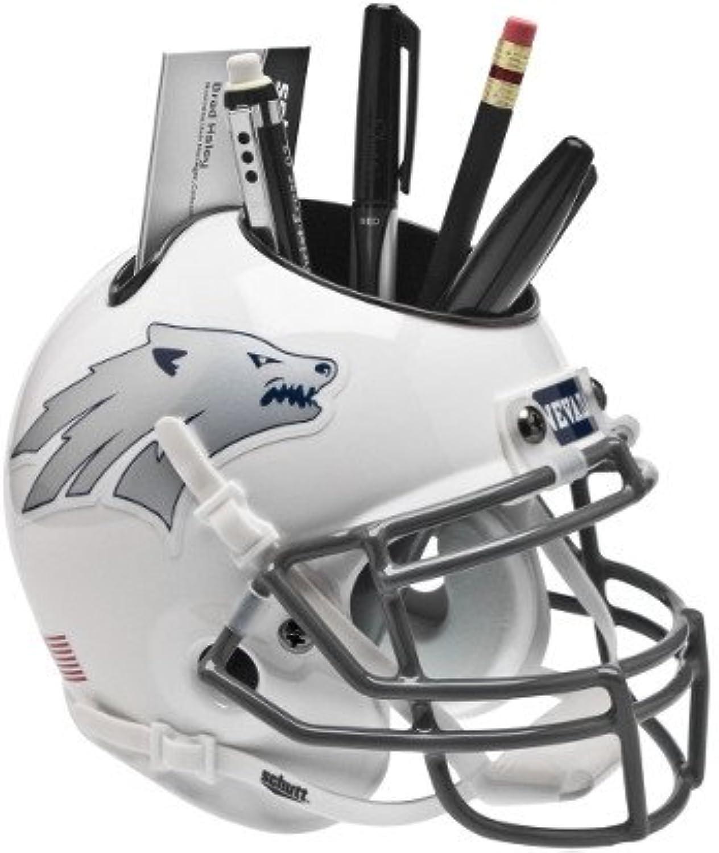 Nevada Wolf Pack White w Silver Wolf NCAA Football Schutt Mini Helmet Desk Caddy