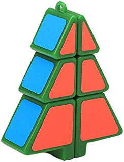 Willking Christmas Tree Shape Magic Cube Speed Cube Puzzle Pendant Creative Toys (Green)