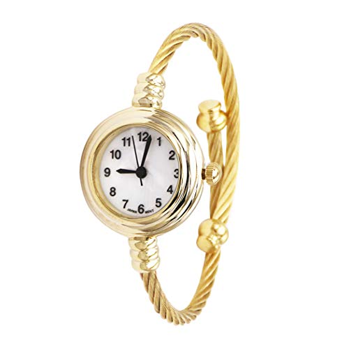 Rosemarie Collections Women's Mother of Pearl Coil Rope Twist Cuff Bracelet Watch (Gold Tone)