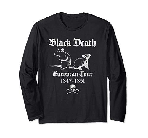 黒死病オカルトゴシックホラーサタン悪魔ブラック 長袖Tシャツ