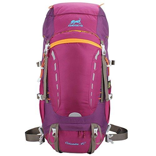 Eshow Unisex Trekkingrucksäcke Wanderrucksäcke Reisenrucksack Camping Outdoor Reisen Sport Wandern Trekking Rucksäcke 40L mit Regenhülle, Rosa