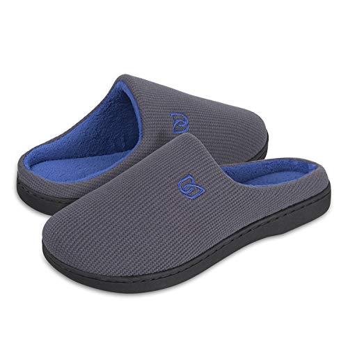 Damen Herren Hausschuhe aus Memory-Baumwolle Drinnen Pantoffeln im Herbst und Winter für Drinnen und Draussen (B Grau/Blau, 42/43 EU)