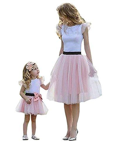 Loralie Vestidos Mujer Verano Falda Madre e Hija Vestido con Mangas Cortas de Tul Skirt Blanco y Rosa
