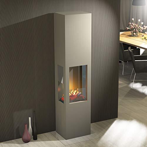 Muenkel ontwerp Prism Fire L [bio-ethanol haard 3-zijdig zicht]: grijs aluminium