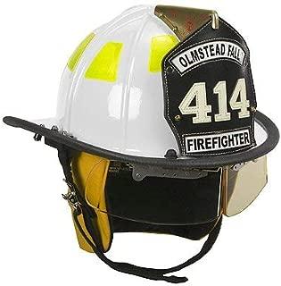 Cairns White 1010 Traditional Fiberglass Helmet, NFPA, OSHA - 1010 Defender Visor, Std, White, Std Flannel Liner, Yellow Nomex Earlaps