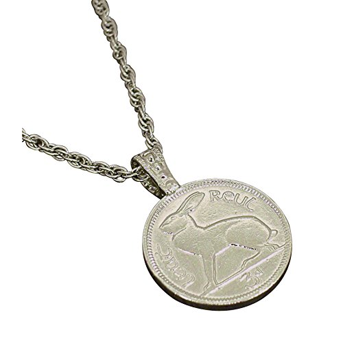 American Coin Treasures Lucky Rabbit Coin Pendant | Eire Coin | Irish Hare | Silvertone 24 Inch Rope Chain | Certificate of Authenticity …