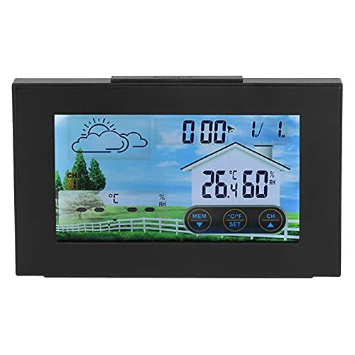 TAKE FANS Reloj digital, reloj meteorológico con pantalla táctil a color, termómetro interior y exterior,...