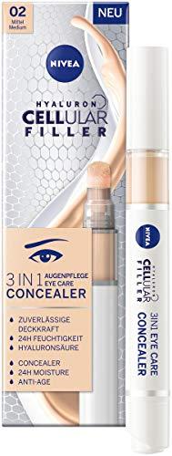 NIVEA Hyaluron Cellular Filler 3IN1 Augenpflege Concealer Mittel (4 ml), Anti-Age Concealer mit Hyaluron, Abdeckstift für Augenringe, Rötungen und Pickel