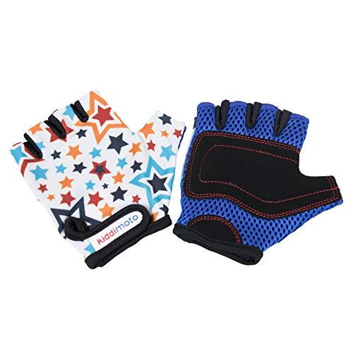 KIDDIMOTO Kinder Fahrradhandschuhe Fingerlose für Jungen und Mädchen/Fahrrad Handschuhe/Bike Kinder Handschuhe - Sterne - M (4-8y)