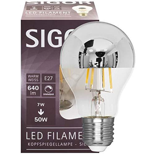 SIGOR Filament-LED-Lampe, AGL-Form, Spiegelkopf Silber, E27/230V/7W, 640 lm (9019600127)