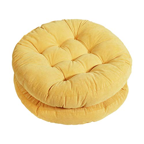 Tiita Patio Floor Pillow Cushions Round Seat Cushion Outdoor Floor Chair Pad Meditation Cushion for Yoga Living Room Sofa Balcony Garden Set of 2, 22x22 Inch, Yellow