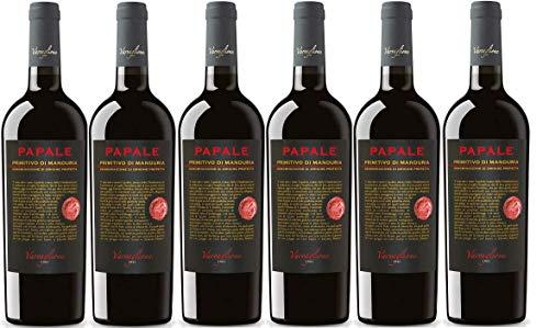 6er Vorteilspaket Papale Primitivo di Manduria DOP 2019 | Varvaglione | Rotwein aus Apulien | mit Weingausgießer Drop Stop fabelhafte-geschenke | 6 x 0,75l