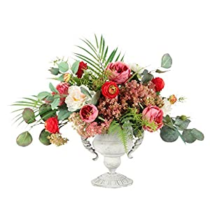 Artificial Flower with Ceramics Vase Snowball Rose Bouquet for Home Office Restaurant Model Room Decor