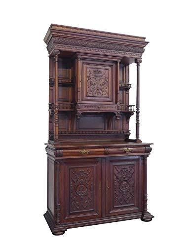 Antiker Buffetschrank um 1880 aus Eiche | Küchenschrank Buffet Esszimmerschrank | 3-türig | B: 138 cm (10052)