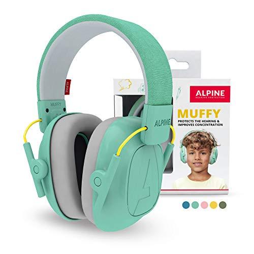 Alpine Muffy Protectores de Oído para Niños - Cascos Antiruido para niños de hasta 16 años - Cascos de Insonorización diseñados niños - Cómoda protección auditiva - banda de sujeción ajustable - Mint