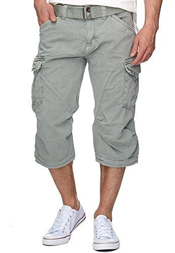 Indicode Herren Nicolas Check 3/4 Cargo Shorts kariert mit 6 Taschen inkl. Gürtel aus 100% Baumwolle | Kurze Hose Sommer Herrenshorts Short Men Pants Cargohose kurz für Männer Lt Grey XXL