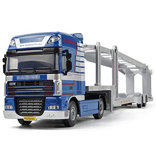 HXGL-Drum Doble Decker Planbed Transporter Toy Aleación Car Transporter Blue Contiene 6 Autos de policía Especiales