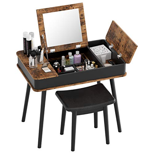 IRONCK Vanity Set with Mirror and Stool Makeup Vanity Table Set with Flip Top Writing Desk 2 Side Organizers Easy Assembly, Industrial Brown