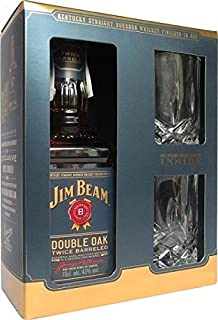 Jim Beam Double Oak Kentucky Straight Bourbon Whiskey Geschenkset mit 2 Tumbler Whiskeygläsern, 43% Vol, 1 x 0,7l