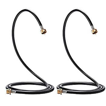 LONGADS 2 Packs 12 FT Propane Torch Extension Hose for Propane Tree Distribution Tree Post T and Y Connector 1inch × 20 Female Throwaway Cylinder Thread 1inch × 20 Male Connector